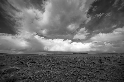 Storm clouds appear over Cathedral Valley at Capitol Reef National Park, Utah