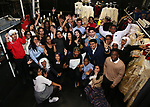 James Basker, President of the Gilder Lehrman Institute with Bryan Terrell Clark and High School Student performers during their #EduHam photo shoot on January 31, 2018 at the Richard Rodgers Theatre in New York City.