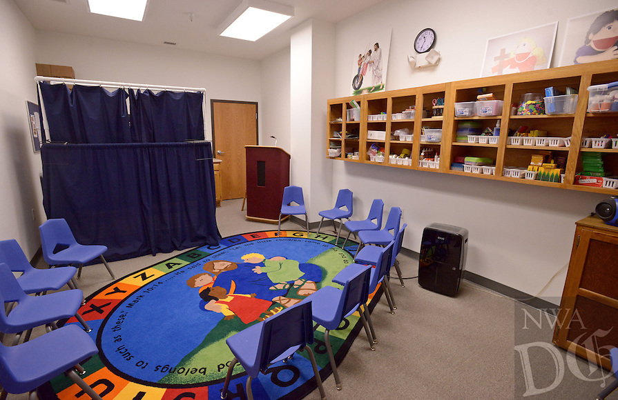 NWA Democrat-Gazette/BEN GOFF @NWABENGOFF<br /> A view of one of the youth classrooms on Sunday Nov. 8, 2015 in the expansion at Bella Vista Lutheran Church. The church held a dedication ceremony Sunday for their recently completed 10,500 square foot expansion, which includes a new fellowship hall upstairs and classroom space downstairs. The project also involved the renovation of 6,500 square feet of existing space, making more room for offices and the church's food pantry.