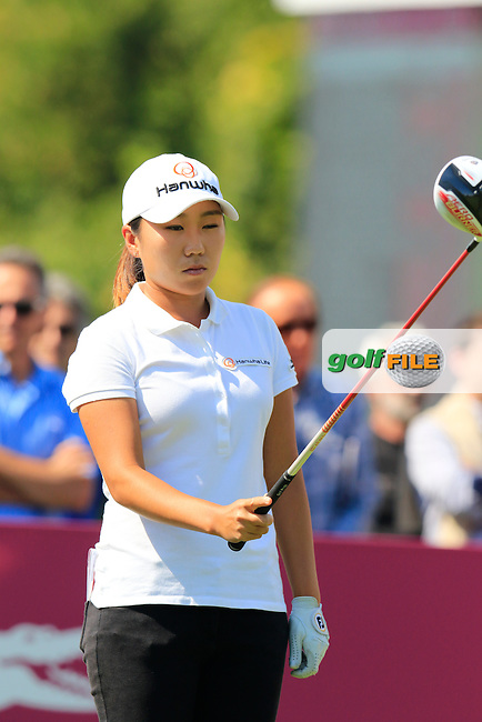 I.K.Kim (KOR) on the 1st tee to start her match during Friday's Round 2 of the LPGA 2015 Evian Championship, held at the Evian Resort Golf Club, Evian les Bains, France. 11th September 2015.<br /> Picture Eoin Clarke | Golffile