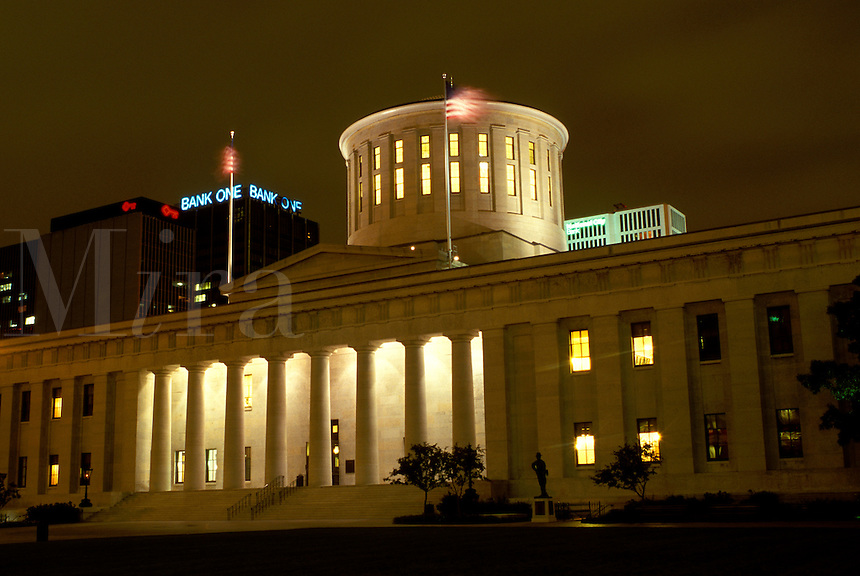 Statehouse, capitol, State Capitol, Columbus, OH, Ohio, Statehouse, a Greek Revival building, in the evening in downtown Columbus.