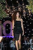 model wearing black dress on outdoor fashion show in Montreal,Quebec