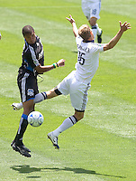 20 June 2009: Ryan Johnson of the Earthquakes fights for the ball against Gregg Berhalter of the Galaxy during the game at Oakland-Alameda County Coliseum in Oakland, California.   Earthquakes defeated Galaxy at 2-1.