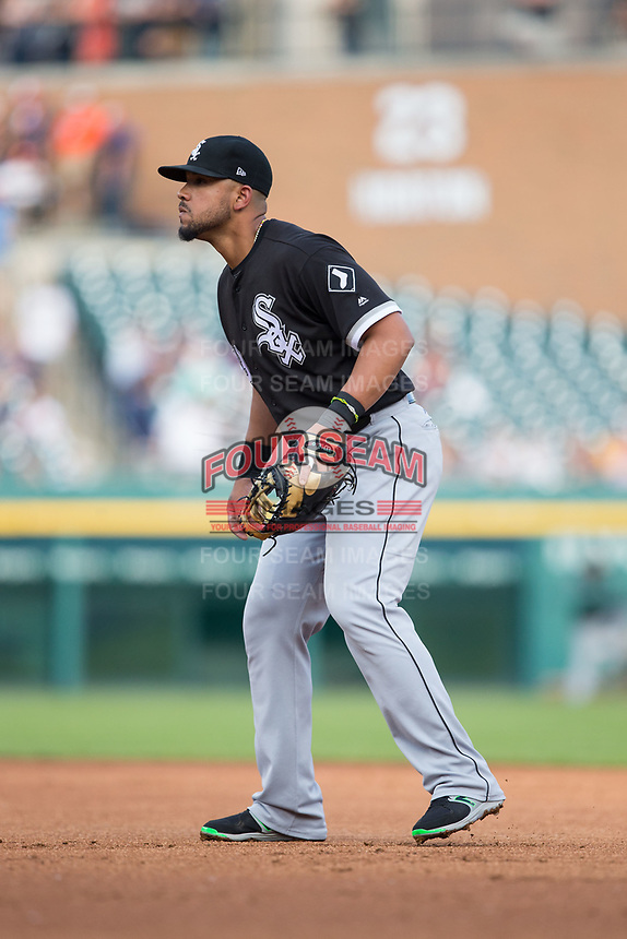 Chicago White Sox first baseman Jose Abreu (79) on defense against the Detroit Tigers at Comerica Park on June 2, 2017 in Detroit, Michigan.  The Tigers defeated the White Sox 15-5.  (Brian Westerholt/Four Seam Images)
