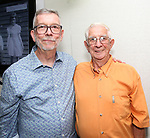 Sam Rudy with his dad during the Retirement Celebration for Sam Rudy at Rosie's Theater Kids on July 17, 2019 in New York City.