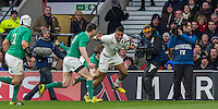 Anthony Watson in action, England v Ireland in a 6 Nations match at Twickenham Stadium, Whitton Road, Twickenham, England, on 27th February 2016