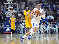 February 7, 2015 - Colorado Springs, Colorado, U.S. -  Air Force guard, Max Yon #22, continues to return to form during an NCAA basketball game between the University of Wyoming Cowboys and the Air Force Academy Falcons at Clune Arena, U.S. Air Force Academy, Colorado Springs, Colorado.  Air Force soars to a 73-50 win over Wyoming.