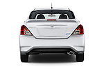 Straight rear view of a 2015 Nissan Versa 1.6 Sv Cvt 4 Door Sedan stock images