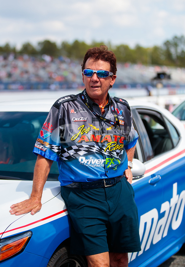 "Mar 15, 2019; Gainesville, FL, USA; NHRA driver Joe Amato during the Toyota ""Unfinished Business"" legends race at qualifying for the Gatornationals at Gainesville Raceway. Mandatory Credit: Mark J. Rebilas-USA TODAY Sports"