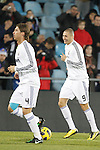 Real Madrid's Karim Benzema and Sergio Ramos during la Liga match on January 3rd 2011...Photo: Cesar Cebolla / ALFAQUI