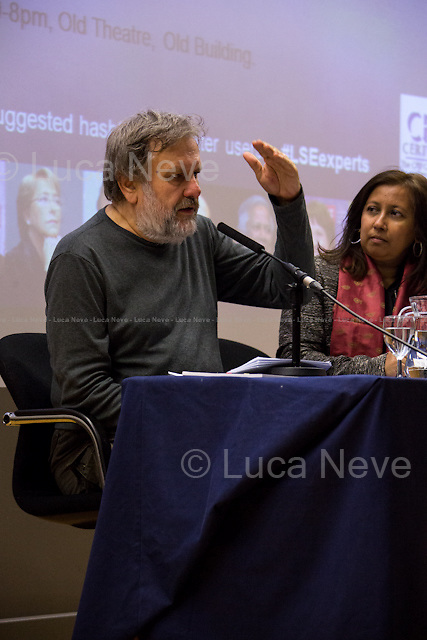 (From L to R) Slavoj Zizek &amp; Purna Sen. <br /> <br /> London, 11/11/2014. Today LSE (London School of Economics) presented a public lecture called &quot;The Need to Censor Our Dreams&quot; hosted by the author of the book &quot;Trouble in Paradise: From the End of History to the End of Capitalism&quot;, Professor Slavoj Zizek (Slavoj Žižek is a Slovenian-born political philosopher - Marxism, German idealism and Lacanian psychoanalysis - and cultural critic, a senior researcher at the Institute for Sociology and Philosophy, University of Ljubljana, Slovenia, Global Distinguished Professor of German at New York University and International Director of the Birkbeck Institute for the Humanities and a visiting professor at a number of American Universities: Columbia, Princeton, New School for Social Research, New York University, University of Michigan). He writes widely on a diverse range of topics, including political theory, dialectical materialism, critique of ideology and art, film theory, cultural studies, theology, and psychoanalysis). Chair of the event was Dr Purna Sen (Deputy Director of the Institute of Public Affairs at the LSE; Chair of the board of the Kaleidoscope Trust, a member of the Board of RISE which is a domestic violence service provider and an Advisor to Justice for Gay Africans; she has served as Head of Human Rights for the Commonwealth Secretariat and as Director for the Asia-Pacific Program at Amnesty International).<br /> <br /> For more information please click here: http://bit.ly/1t2EkTK<br /> <br /> Here there is the link to podcast and video of the lecture: http://bit.ly/1xOBvoR &amp; http://bit.ly/1oPZ8xw