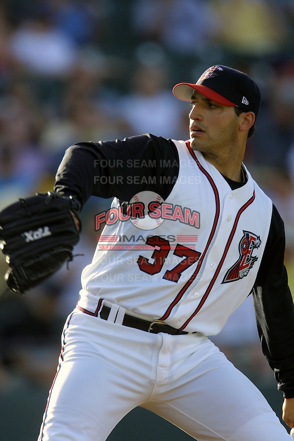 Houston Astros pitcher Andy Pettitte (37) delivers a pitch to the plate during his first rehab start with the Round Rock Express of the Texas League on June 18, 2004 at the Dell Diamond in Round Rock, Texas. (Andrew Woolley/Four Seam Images)