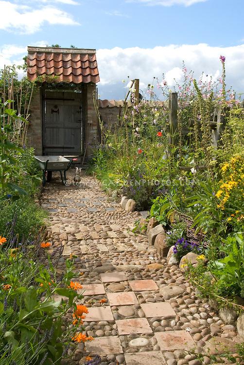Garden Path Of Stones Pebbles Amp Tiles Leading To Garden