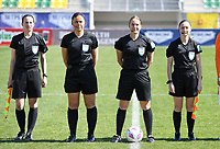 20190301 - LARNACA , CYPRUS : referees pictured with assistant referee Sian Massey (right) ,  Esther Staubli (middle R) , Cypriotic referee Androula Saitti Mouhtari (middle L) and assistant referee Susanne Kung (left) during a women's soccer game between Finland and Czech Republic , on Friday 1 March 2019 at the AEK Arena in Larnaca , Cyprus . This is the second game in group A for Both teams during the Cyprus Womens Cup 2019 , a prestigious women soccer tournament as a preparation on the Uefa Women's Euro 2021 qualification duels. PHOTO SPORTPIX.BE | DAVID CATRY