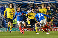 Marcus Harness of Portsmouth and Dani Ceballos of Arsenal vie for the ball during Portsmouth vs Arsenal, Emirates FA Cup Football at Fratton Park on 2nd March 2020