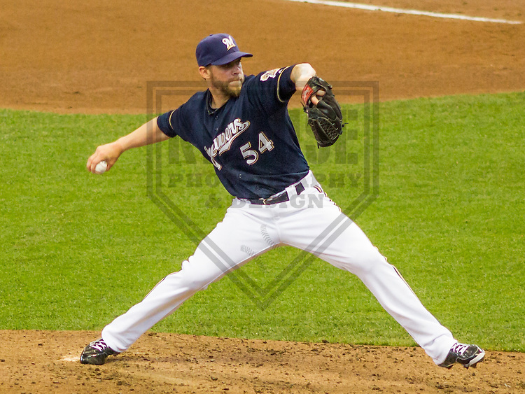 MILWAUKEE - June 2015: Milwaukee Brewers pitcher Michael Blazek (54) during a Major League baseball game against the New York Mets on June 25th, 2015 at Miller Park in Milwaukee, Wisconsin. New York defeated Milwaukee 2-0. (Brad Krause/Krause Sports Photography)