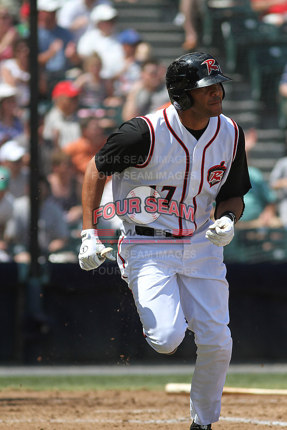 Richmond Flying Squirrels outfielder Chris Dominguez #17 at bat during a game against the Trenton Thunder at The Diamond on May 27, 2012 in Richmond, Virginia. Richmond defeated Trenton by the score of 5-2. (Robert Gurganus/Four Seam Images)