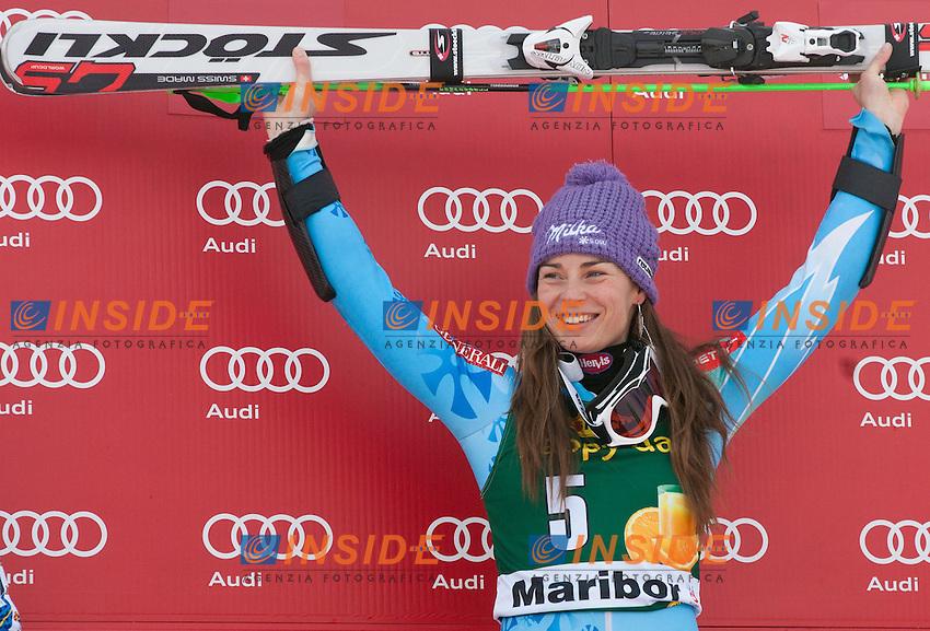 HANSDOTTER Frida (SWE), Winner MAZE Tina (SLO) and third placed ZETTEL Kathrin (AUT).27.01.2013, Pohorje, Maribor, .Sci Slalom Speciale Donne .Foto EXPA/ Sportida/ Vid Ponikvar/Insidefoto.ITALY ONLY