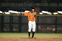 AZL Giants center fielder Ismael Munguia (29) communicates with manager Hector Borg (not pictured) during a game against the AZL Cubs on September 5, 2017 at Scottsdale Stadium in Scottsdale, Arizona. AZL Cubs defeated the AZL Giants 10-4 to take a 1-0 lead in the Arizona League Championship Series. (Zachary Lucy/Four Seam Images)