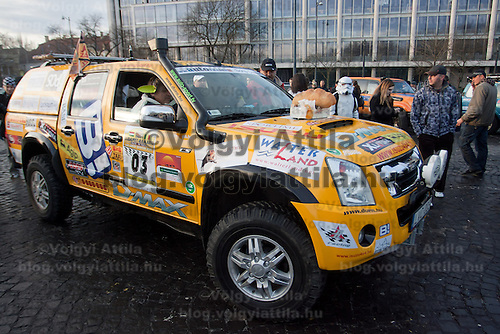 Competitors participate the start of Budapest-Bamako Rally charity race to Africa that starts in Budapest, Hungary on January 15, 2011. ATTILA VOLGYI