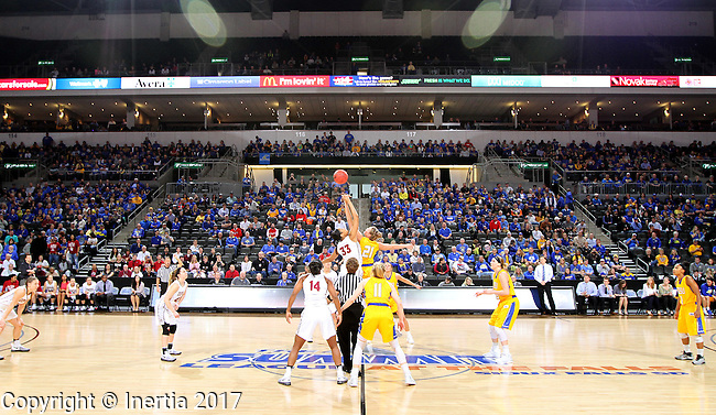 SIOUX FALLS, SD: MARCH 6: Mikale Rogers #33 from IUPUI jumps the opening tip with Clarissa Ober #21 from South Dakota State during the Summit League Basketball Championship on March 6, 2017 at the Denny Sanford Premier Center in Sioux Falls, SD. (Photo by Dave Eggen/Inertia)