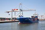 Container ship 'Skirner' and cranes, Port of Rotterdam, Netherlands