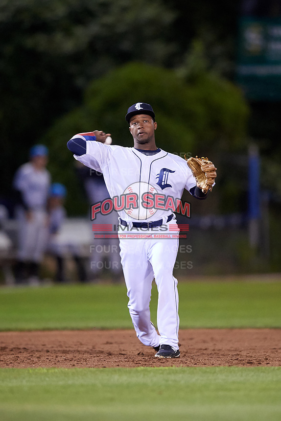 Connecticut Tigers third baseman Alexis Garcia (30) throws to first base during a game against the Hudson Valley Renegades on August 20, 2018 at Dodd Stadium in Norwich, Connecticut.  Hudson Valley defeated Connecticut 3-1.  (Mike Janes/Four Seam Images)