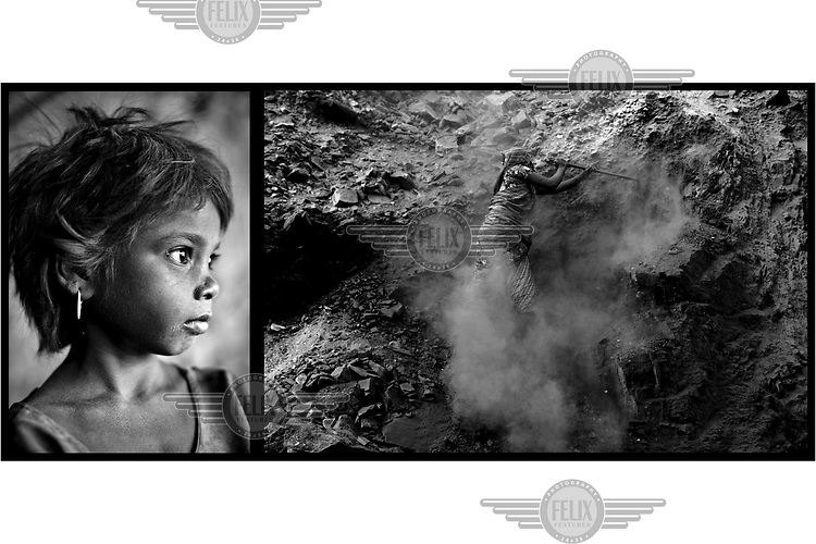 A child and a woman digging out coal from a vast open cast coal mine. On the margins of such mines small communities of people make a precarious living scavenging coal and selling charcoal and coke they make from it. Below ground permanent fires burn, fuelled by seams of coal. The ground can be too hot to walk on and there is an ever present danger that houses will collapse into the vast underground caverns that are left unfilled after mining operations have ended.