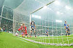 Stockholm 2014-09-28 Fotboll Superettan Hammarby IF - IK Sirius :  <br /> Sirius m&aring;lvakt Andreas Andersson h&auml;mtar bollen i m&aring;l efter att Hammarbys Erik Israelsson gjort 1-0<br /> (Foto: Kenta J&ouml;nsson) Nyckelord:  Superettan Tele2 Arena Hammarby HIF Bajen Sirius IKS depp besviken besvikelse sorg ledsen deppig nedst&auml;md uppgiven sad disappointment disappointed dejected