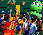 "2 July 2011: Members of the Burlington American Little League stand with mascot ""Champ"" prior to a game between the Vermont Lake Monsters and the Tri-City ValleyCats at Centennial Field in Burlington, Vermont. The Lake Monsters rallied from a 4-2 deficit to defeat the ValletCats 7-4 in NY Penn League action. Mandatory Credit: Ed Wolfstein Photo"