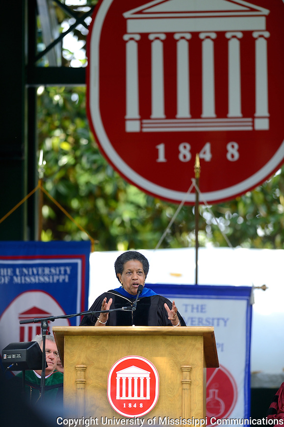 Dr. Myrlie Evers-Williams delivers the Commencement Address at the University of Mississippi Commencement Ceremony.Photo by Nathan Latil/Ole Miss Communications