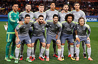 Calcio, andata degli ottavi di finale di Champions League: Roma vs Real Madrid. Roma, stadio Olimpico, 17 febbraio 2016.<br /> Real Madrid's players, front row, from left, James Rodriguez, Dani Carvajal, Isco, Marcelo, Luka Modric; back row, from left, Keylor Navas, Sergio Ramos, Toni Kroos, Raphael Varane, Karim Benzema, Cristiano Ronaldo, pose prior to the start of  the first leg round of 16 Champions League football match between Roma and Real Madrid, at Rome's Olympic stadium, 17 February 2016.<br /> UPDATE IMAGES PRESS/Riccardo De Luca