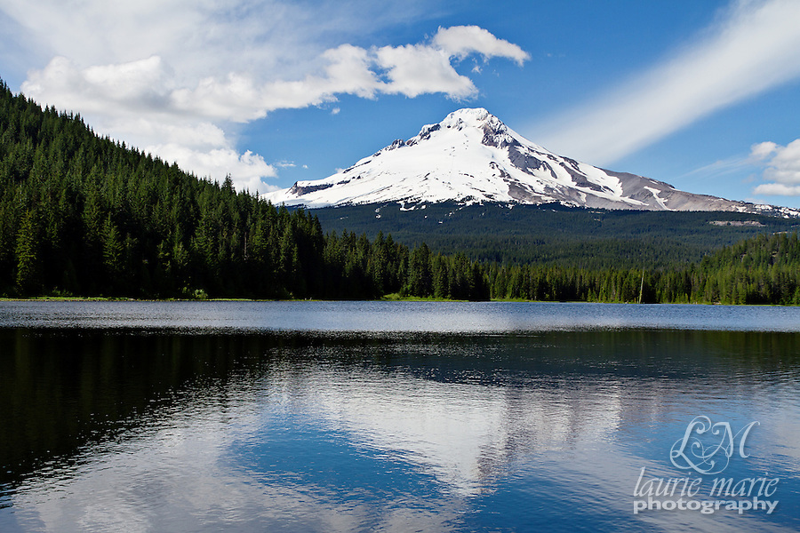 Mt Hood reflected in Trillium Lake on a sunny day
