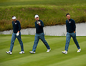 23.09.2014. Gleneagles, Auchterarder, Perthshire, Scotland.  The Ryder Cup.  Ian Poulter [L] , Stephen Gallacher [C] and Justin Rose [R] (EUR) walk on to the 16th green during their practice round.