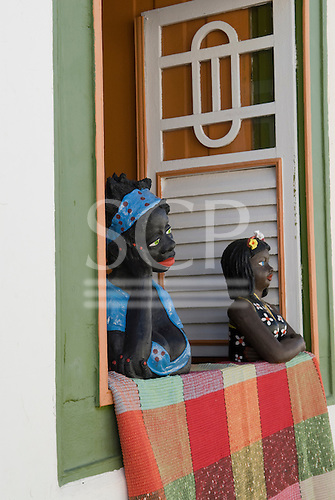 Goias Velho, Brazil. Well preserved colonial town; typical souvenirs on sale in tourist shop.