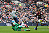 2nd February 2019, Wembley Stadium, London England; EPL Premier League football, Tottenham Hotspur versus Newcastle United; Martin Dubravka of Newcastle United saves a one on one with Lucas Moura of Tottenham Hotspur