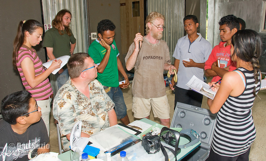 British herpetologist Mark O'Shea, holding a dog-faced water snake, Cerberus rynchops, speaks to American and Timorese students at their makeshift research station at Bakhita Mission, Near Eraulo, Ermera District, Timor-Leste (East Timor). Standing, left to right: Caitlin Sanchez, Scott Heacox, Luis Lemos, Mark O'Shea, Benny Carvalho, Zito Afranio, Marianna Tucci. Seated: Jester Ceballos, Professor Hinrich Kaiser.