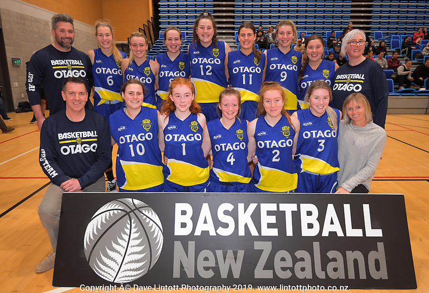 The Otago team after the National Under-23 Basketball Championship women's final between Waikato and Otago at Te Rauparaha Arena in Porirua, New Zealand on Saturday, 10 August 2019. Photo: Dave Lintott / lintottphoto.co.nz