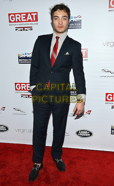 28 February 2014 - Los Angeles, California - Ed Westwick. GREAT British Film Reception to honor the British Oscar nominees, hosted by Consul General Chris O'Connor at the British Residence. <br /> CAP/ADM/CC<br /> &copy;CC/AdMedia/Capital Pictures