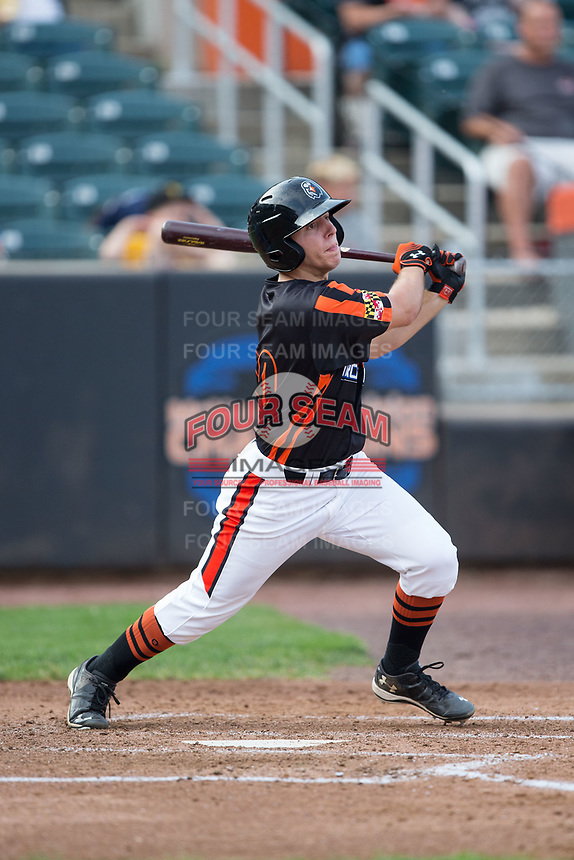 T.J. Nichting (40) of the Aberdeen IronBirds follows through on his swing against the Hudson Valley Renegades at Leidos Field at Ripken Stadium on July 27, 2017 in Aberdeen, Maryland.  The Renegades defeated the IronBirds 2-0 in game one of a double-header.  (Brian Westerholt/Four Seam Images)