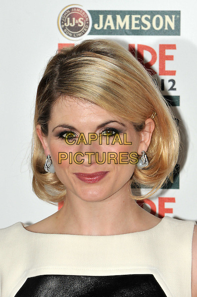 Jodie Whittaker.Jameson Empire Film Awards at the Grosvenor House Hotel, Park Lane, London, England..March 25th 2012.headshot portrait  black white pearl earrings .CAP/BF.©Bob Fidgeon/Capital Pictures.