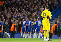 Goalkeeper Iker Casillas of FC Porto turns in disappointment as Chelsea celebrate there 2nd goal during the UEFA Champions League group G match between Chelsea and FC Porto at Stamford Bridge, London, England on 9 December 2015. Photo by Andy Rowland.
