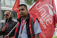"London bus drivers protest outside City Hall as their 'Bill of Rights' is presented to transport officials following the ""Driven to Distraction"" report which raises serious concerns about safety. 14-9-17"