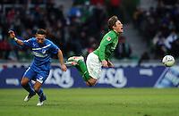 FUSSBALL   1. BUNDESLIGA   SAISON 2011/2012   21. SPIELTAG Werder Bremen - 1899 Hoffenheim                        11.02.201 Tobias Weis (li, TSG 1899 Hoffenheim) foult Clemens Fritz (re, SV Werder Bremen)