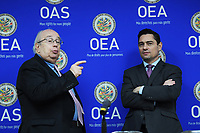 Washington, DC - March 8, 2019: Venezuela's Ambassador to OAS Gustavo Tarré(left) and Venezuela's Ambassador to US Carlos Vecchio(right) talk regarding to a new report from the OAS Working Group on Venezuelan Migrants and Refugees during a press conference at Inter American Commission of Human RightVenezuela's Ambassador to OAS Gustavo Tarré  March 8, 2019.  (Photo by Lenin Nolly/Media Images International)