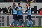 15.02.2020, Merkur Spiel-Arena, Duesseldorf, GER, 1. BL, Fortuna Duesseldorf vs. Borussia Moenchengladbach, DFL regulations prohibit any use of photographs as image sequences and/or quasi-video<br /> <br /> im Bild / picture shows: Lars Stindl (#13, Borussia Moenchengladbach) jubelt nach seinem Tor zum 1:2 mit Marcus Thuram  (#10, Borussia Moenchengladbach) Oscar Wendt (#17, Borussia Moenchengladbach) <br /> <br /> Foto © nordphoto/Mauelshagen