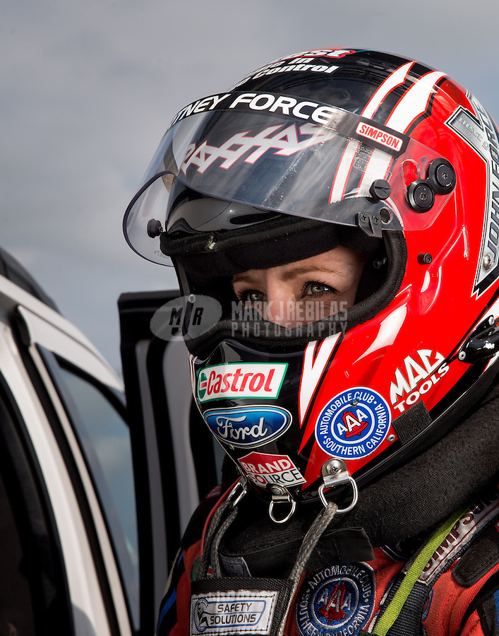Sept. 1, 2013; Clermont, IN, USA: NHRA funny car driver Courtney Force during qualifying for the US Nationals at Lucas Oil Raceway. Mandatory Credit: Mark J. Rebilas-