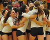 Massapequa varsity girls volleyball teammates celebrate after their 3-0 win over Long Beach in the Nassau County Class AA championship at SUNY Old Westbury on Tuesday, Nov. 8, 2016.