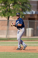 Milwaukee Brewers third baseman Dallas Carroll (40) prepares to make a throw to first base during an Instructional League game against the San Diego Padres on September 27, 2017 at Peoria Sports Complex in Peoria, Arizona. (Zachary Lucy/Four Seam Images)
