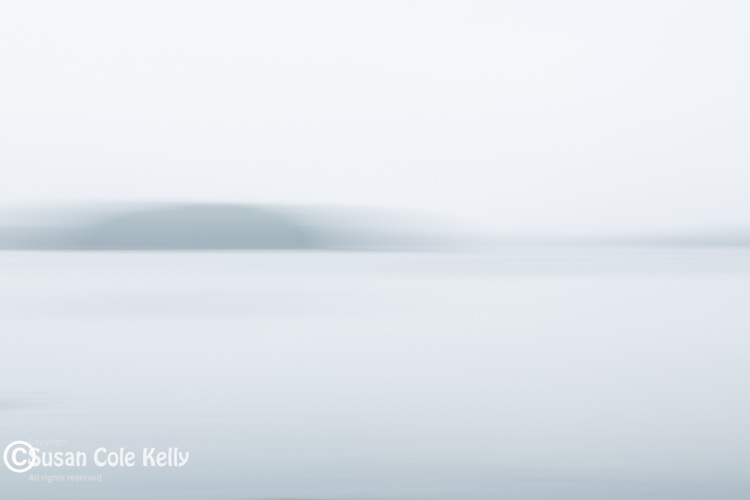 A foggy day on Taunton Bay in Sullivan, Maine, USA